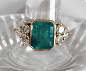 14K-Yellow-Gold-Over-2-45Ct-Emerald-Cut-Green-Emerald-Antique-Vintage-Ring