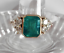 14K-Yellow-Gold-Over-2-45Ct-Emerald-Cut-Green-Emerald-Antique-Vintage-Ring thumbnail 1