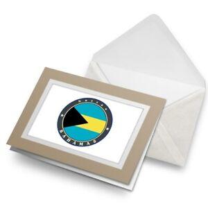 Greetings-Card-Biege-Nassau-Bahamas-Flag-Travel-Stamp-5039