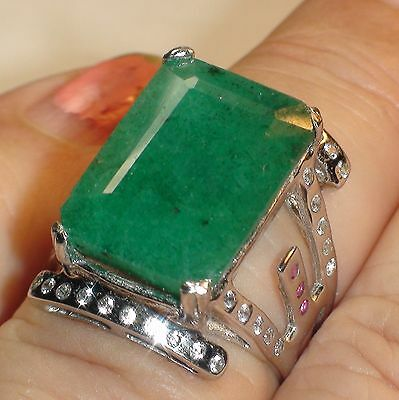 LOVELY! NATURAL 11.70 CT UNHEATED EMERALD RING 925 STERLING SILVER,SIZE 6.5