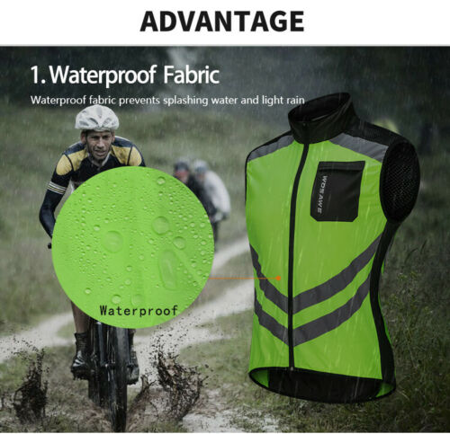 Men/'s High Visibility Cycling Vest Reflective Vest Windproof Bike Bicycle Jersey