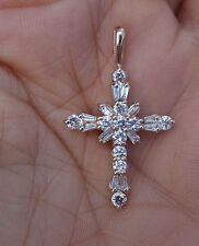 1.25cts H/Si1_Si3 cross diamond pendant 14k YG