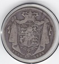 'Anno  1834'   King   William   IV   Half  Crown  (2/6d) -  Silver  92.5%  Coin