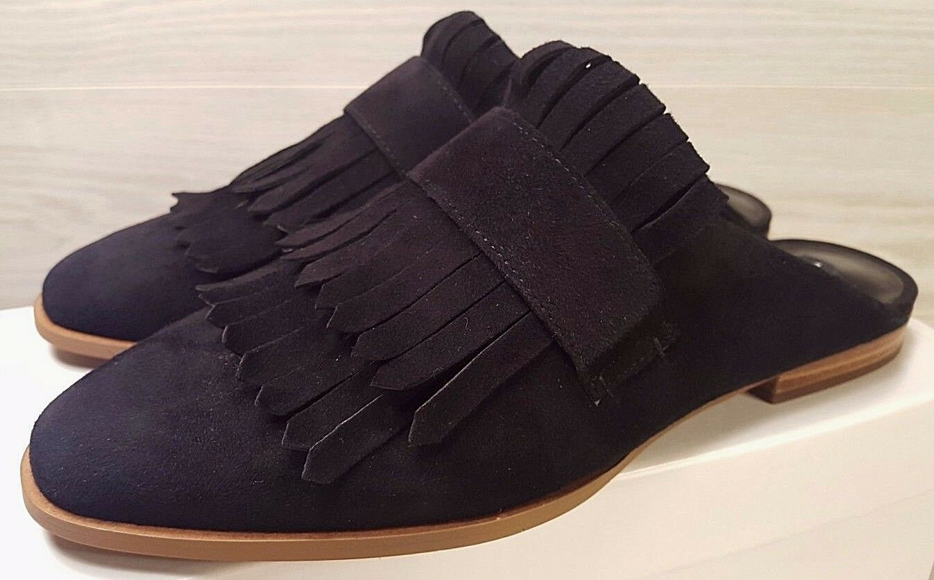 **NEW** Steven By Suede Steve Madden Adee Nero Suede By Slides Fringe Size 7.5 5d70d8