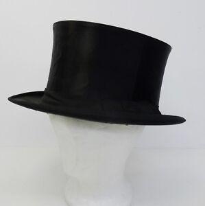 Antiker-Hut-Zylinderhut-Top-Hat-Chapeau-Claque-Zylinder-57-5cm-1900
