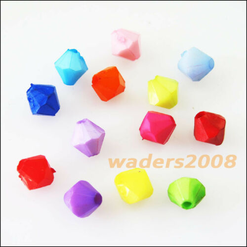 300 New Charms Plastic Acrylic Faceted Cone Spacer Beads Mixed 6mm