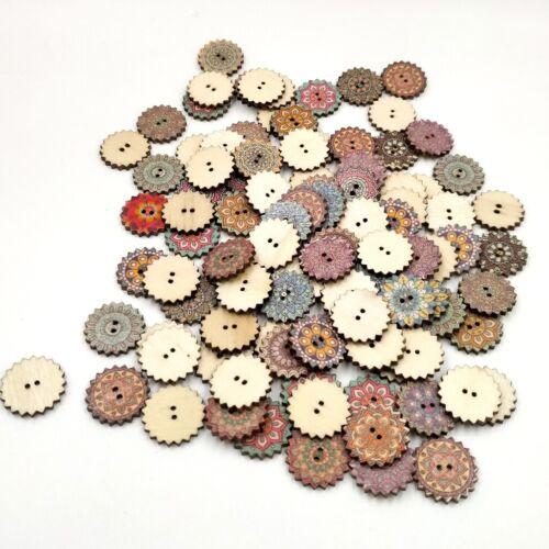 Deko Knopf Holz runde Kinderknöpfe mit 2 100 Holz Knöpfe zum Basteln