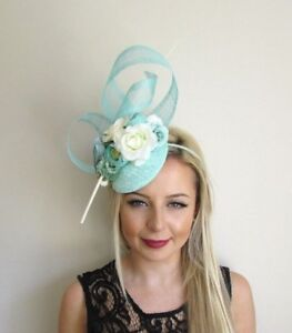 Mint Green Ivory Cream Flower Feather Hat Hair Fascinator Wedding ... 2b3dc3d27aa