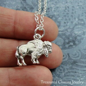 Silver-Buffalo-Necklace-American-Bison-Charm-Pendant-Jewelry-NEW