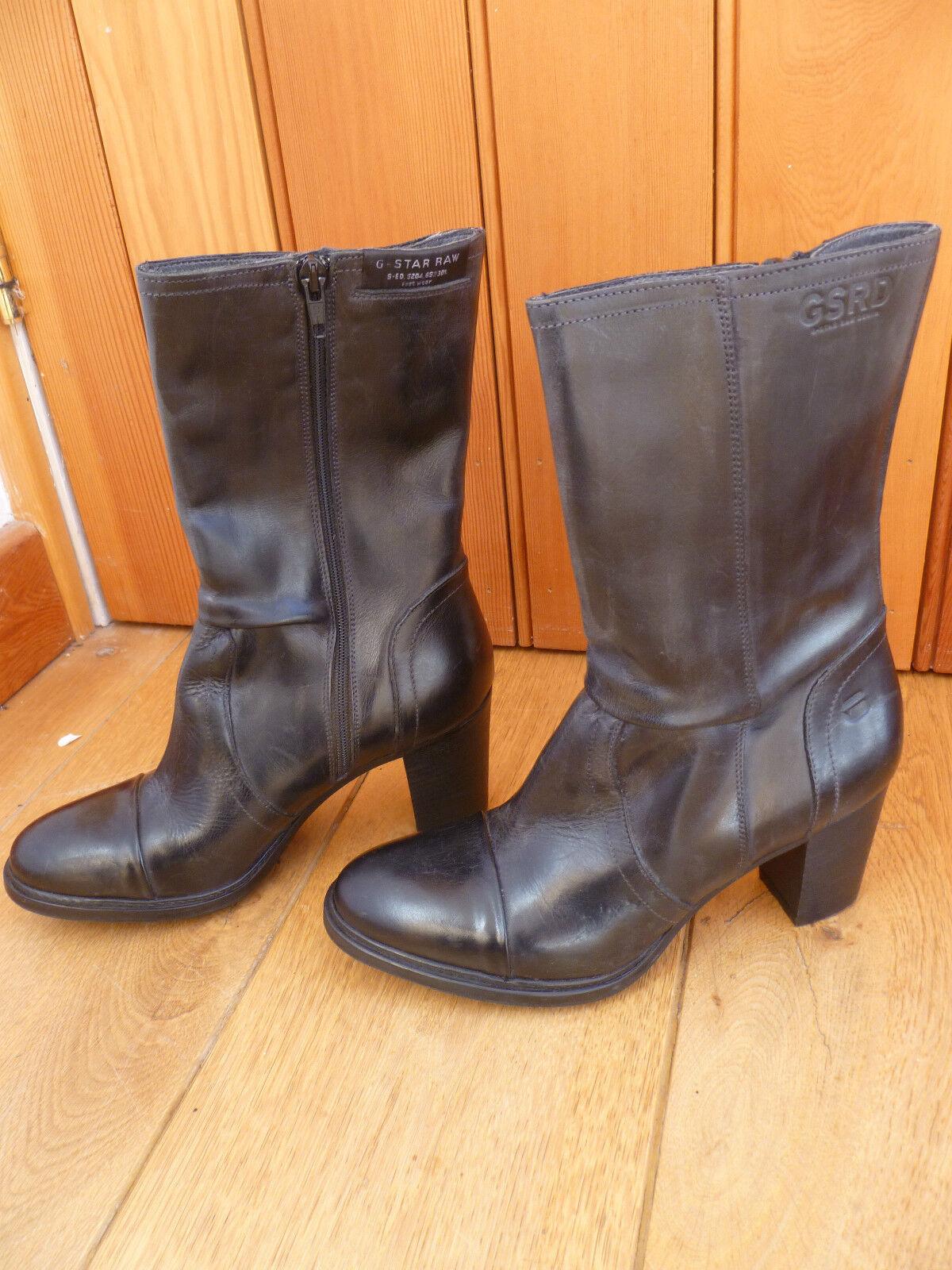 connotación de lujo discreta G Star Raw Pliegue Pliegue Pliegue Detalle De Cuero Negro botas Mitad de Pantorrilla pantalla ex 3 36 Nuevo  despacho de tienda