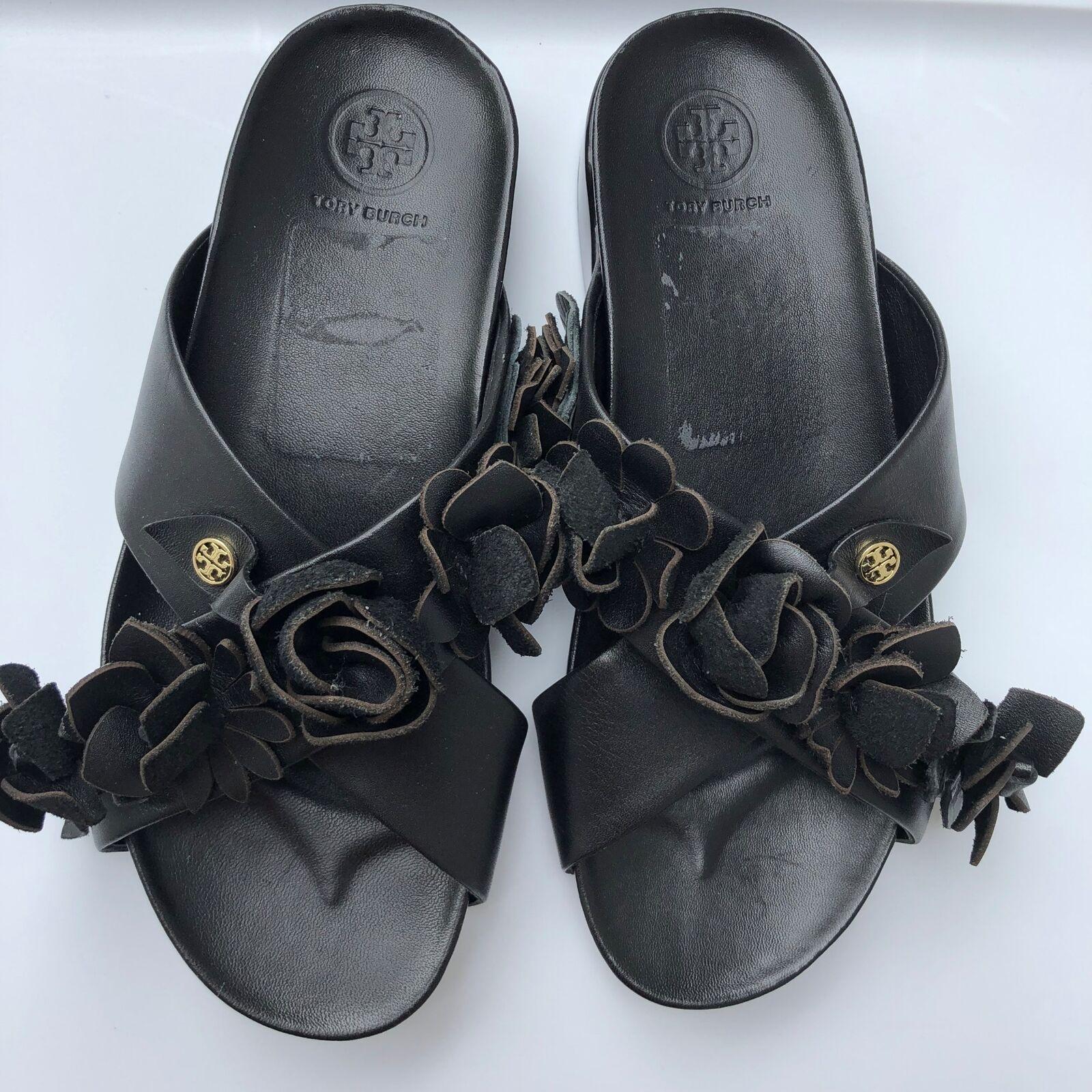 Tory Burch Mujer Sandalias Ojotas de pisos Floral Negro Tamaño Tamaño Tamaño 7M  venta caliente