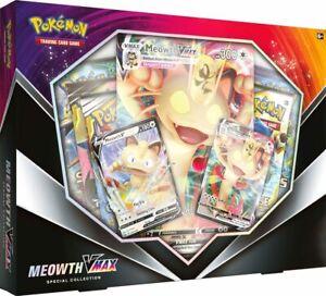 Pokemon-TCG-Meowth-Vmax-Box-Sammlung-Sword-amp-Shield-5-Booster-Packs-Vorverkauf