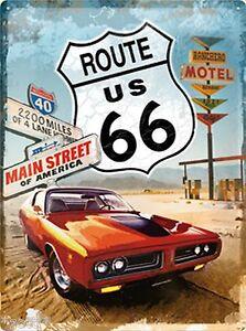 Nostalgic-Art-Blechschild-ROUTE-66-Main-Street-Motel-red-Car-30-x-40