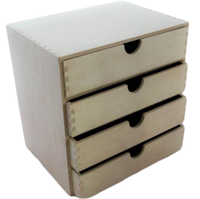 A4 Plain Wooden Cupboard Chest Shelf With Drawers Storage Desktop Unit D44
