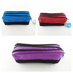 Triple-Pocket-Zip-Rectangular-Large-Fabric-Pencil-Case-Ideal-For-School