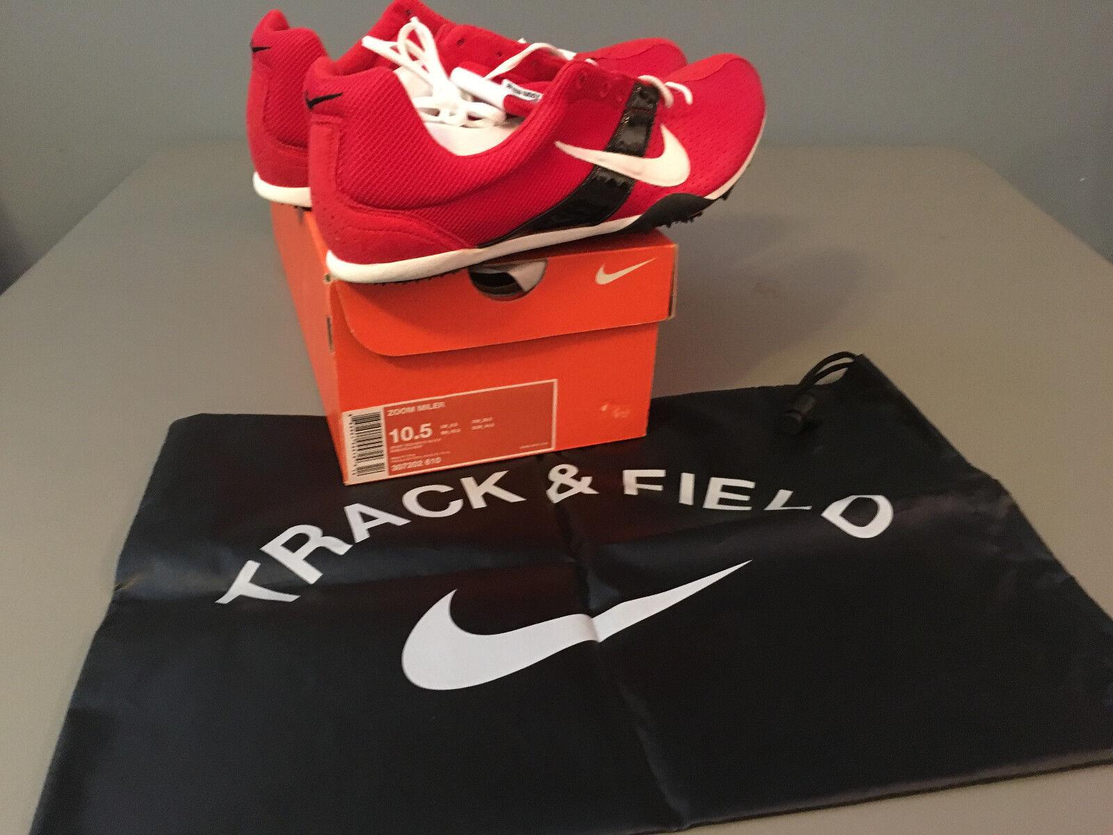NIB Mens Nike ZOOM Miler Track & Field Track Spikes (307202) Red   Black 10.5