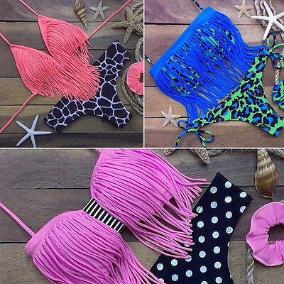 Sexy Tassel Women Push-Up Padded Bikini Set Bandage Swimsuit Bathing Beachwear