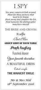 x12 Personalised Wedding I Spy Game Camera Game Favour Card Table ...