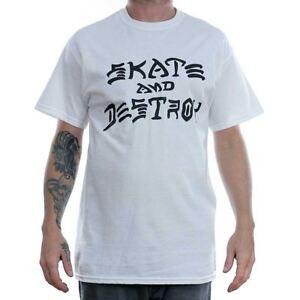 68c9eb76 Thrasher Magazine White Skate & Destroy T-Shirt Tee Rare Official ...