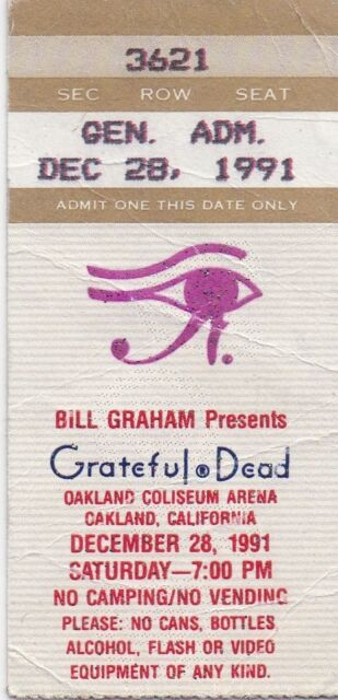 GRATEFUL DEAD TICKET STUB  12-28-1991  OAKLAND COLISEUM ARENA  **MAIL ORDER**