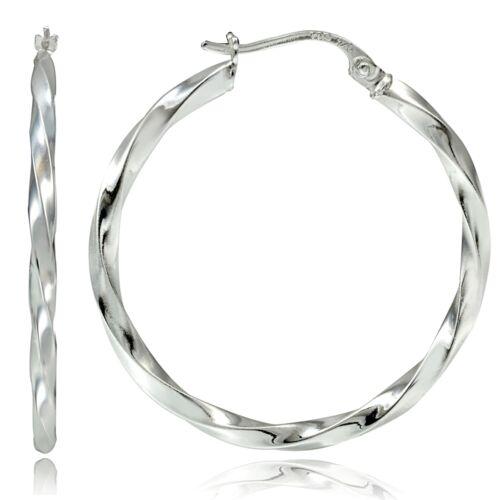 Sterling Silver 2mm Twist Round Hoop Earrings 60mm