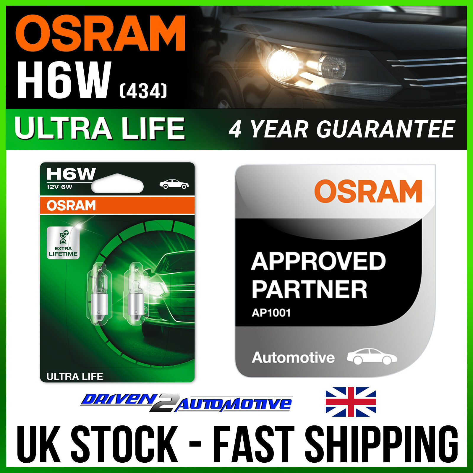 2x Mercedes 190 W201 Genuine Osram Ultra Life Number Plate Lamp Light Bulbs
