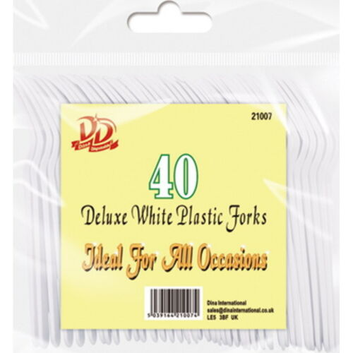 40 x Disposable Deluxe Strong White Plastic Party BBQ Forks