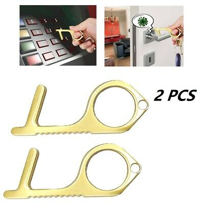 MoGist Non-Contact Every Day Carry Door Opener Hook Handheld Brass Keychain Tool Stylus Utlity Tool Keep Hands Clean