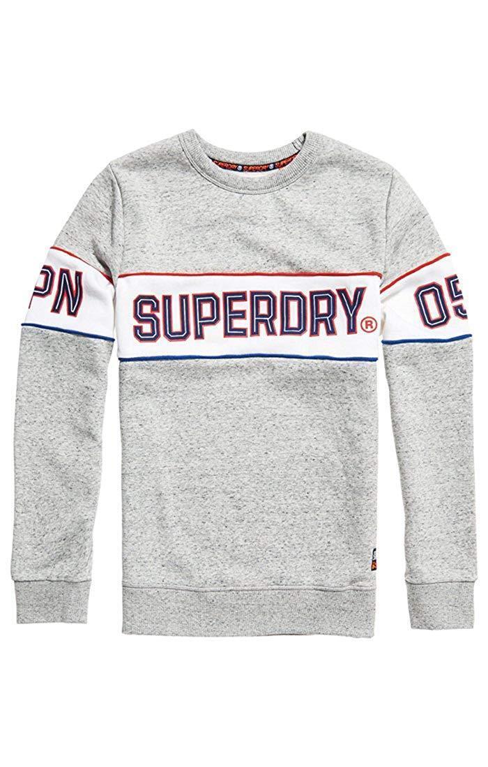 Superdry Retro Stripe Crew Neck Sweatshirt grau(Street Works Grit) S-XXXL