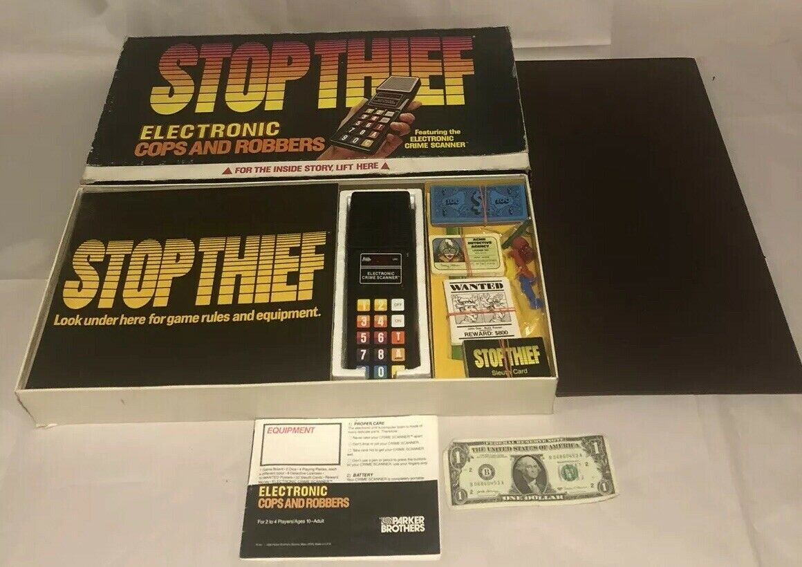 1979 Electronic Stop Thief Board Game Parker Bros 100% Complete Working Scanner
