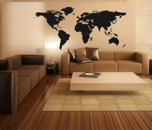 Wandtattoo Weltkarte World Map Motiv II detailliert Wandaufkleber Premium Folie