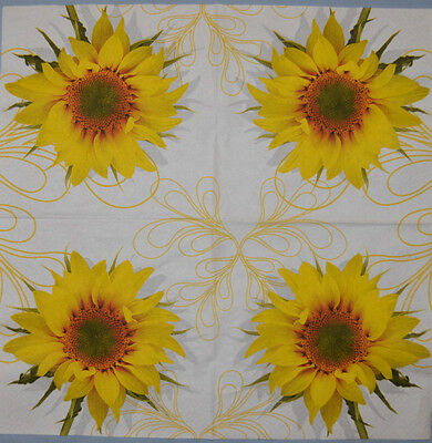 PAPER TABLE NAPKIN SUNFLOWER FOR CRAFT VINTAGE DECOUPAGE COFFEE TEA PARTIES 240