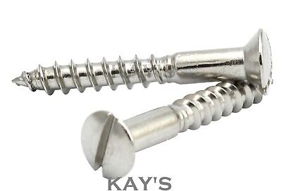 A2 Stainless Steel Slotted Countersunk Wood Screws 3.5mm Thread Dia No.6