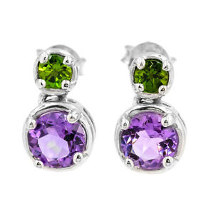 EARTH-MINED-6MM-AFRICAN-AMETHYST-CHROME-DIOPSIDE-STERLING-SILVER-925-EARRING