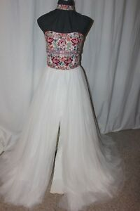 NWT-Sherri-Hill-50873-ivory-Multi-Size-16-long-embroidered-formal-gown-PROM-dres