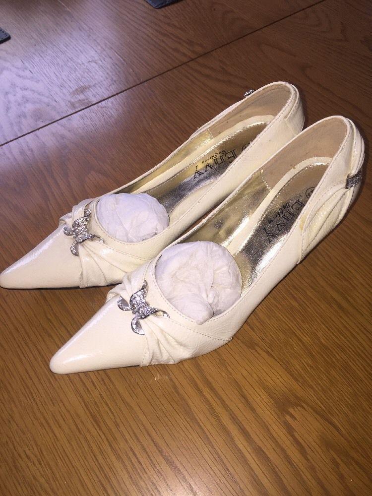 NEW Bridal/bridesmaid/prom ivory patent diamante heels shoes Envy by Cherag UK5
