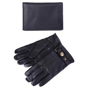 72e61f76b346 Barbour Black Leather Glove and Cardholder Gift Set