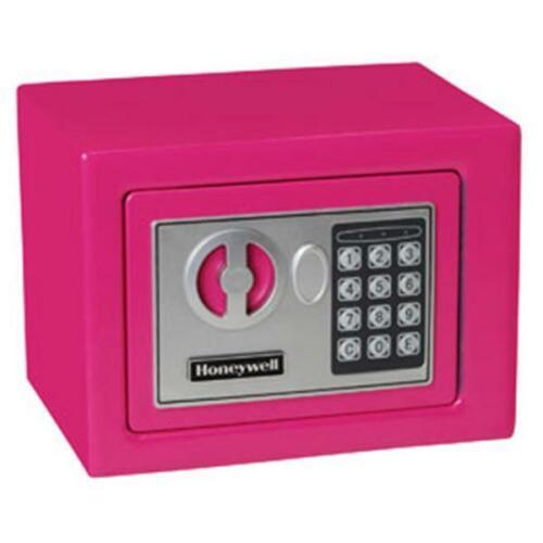 Small Honeywell 5005P 0.17 cu//ft Pink Storage Security Safe w// Digital Lock