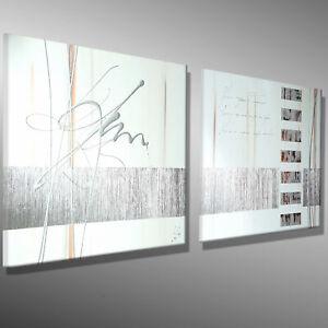 BILDER-KUNST-Acrylbild-MALEREI-Leinwand-original-abstrakt-MICO-130x50-SILBER