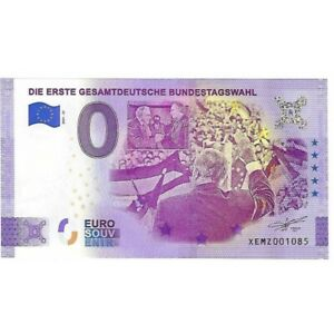 ALLEMAGNE 2021-25 DIE ERSTE GESAMTDEUTSHE BUNDESTAGSWAHL BILLET SOUVENIR 0 EURO