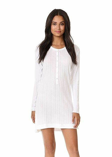 NWT SKIN Rib Tunic Long Sleeve Lightweight Henley Sleep Shirt Dress Pajamas 1 S