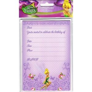 Details About DISNEY FAIRIES TINKERBELL BIRTHDAY PARTY SUPPLIES INVITATIONS INVITES PACK OF 8