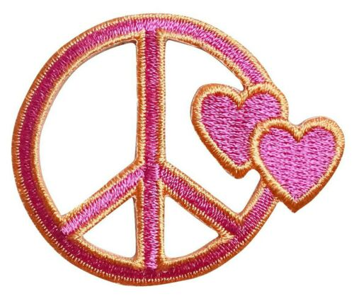 Iron On Applique//Embroidered Patch Two Hearts Fuchsia Pink//Orange Peace Sign