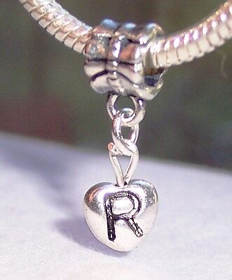STERLING SILVER CHARM Initial Dangling Letter R