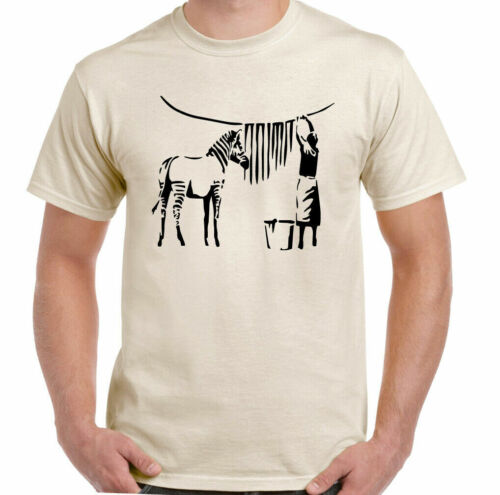 Zebra Banksy T-shirt Funny Graffiti Street Art Urban Classic Retro Men's Ladies