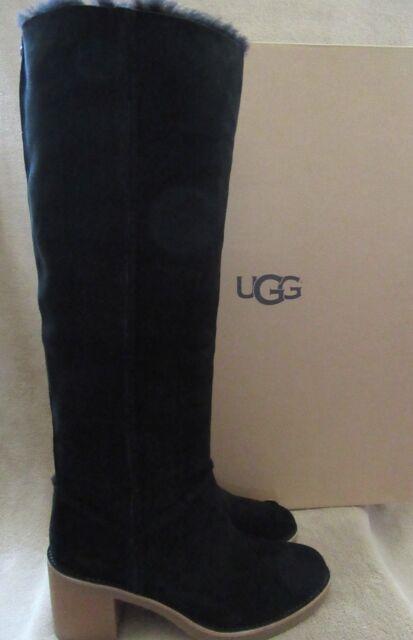 cf9df32eb80 UGG Australia Kasen Tall Black Suede Wool Sheepskin BOOTS Shoes US 9 EUR 40  NWB