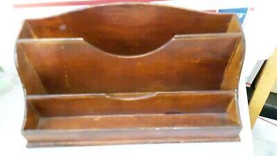 Vintage Wood Wooden Desk Organizer Letter Holder Bill Caddy File Mail Mcm Style Ebay