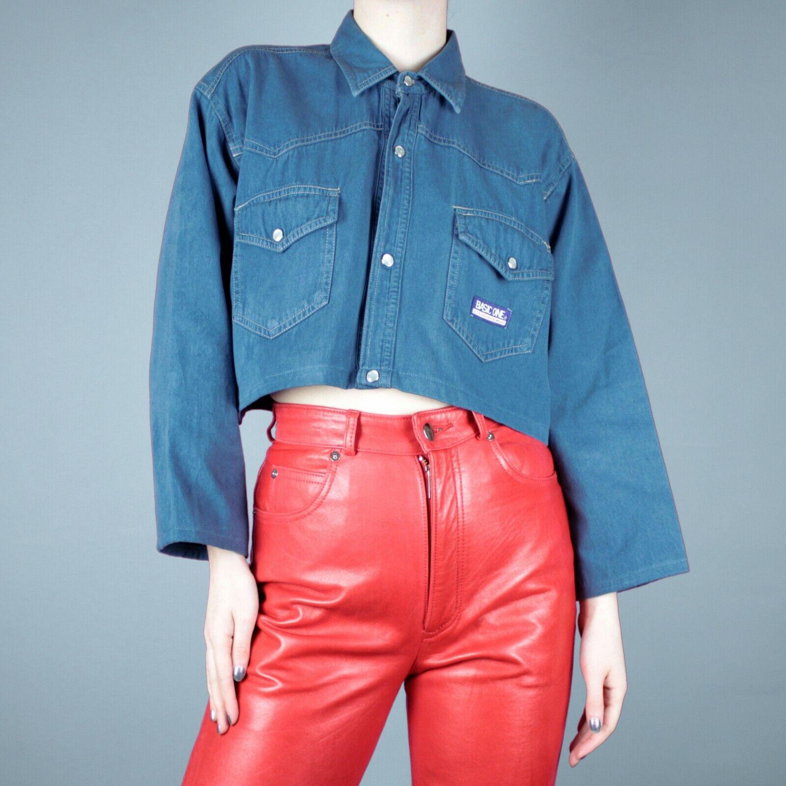 VINTAGE 90s 80s Blue Cotton Womens Crop Beige Grunge Retro Shirt Top M 12 14