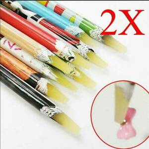 2-PCS-Wax-Picking-Picker-Pencil-Pen-Rhinestone-Gem-Crystal-Nail-Art-Tool
