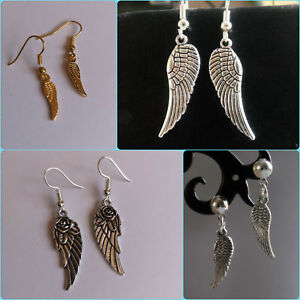 WING-earrings-SILVER-gold-PLATED-angel-wings-BOHO-charms-small-large-choose